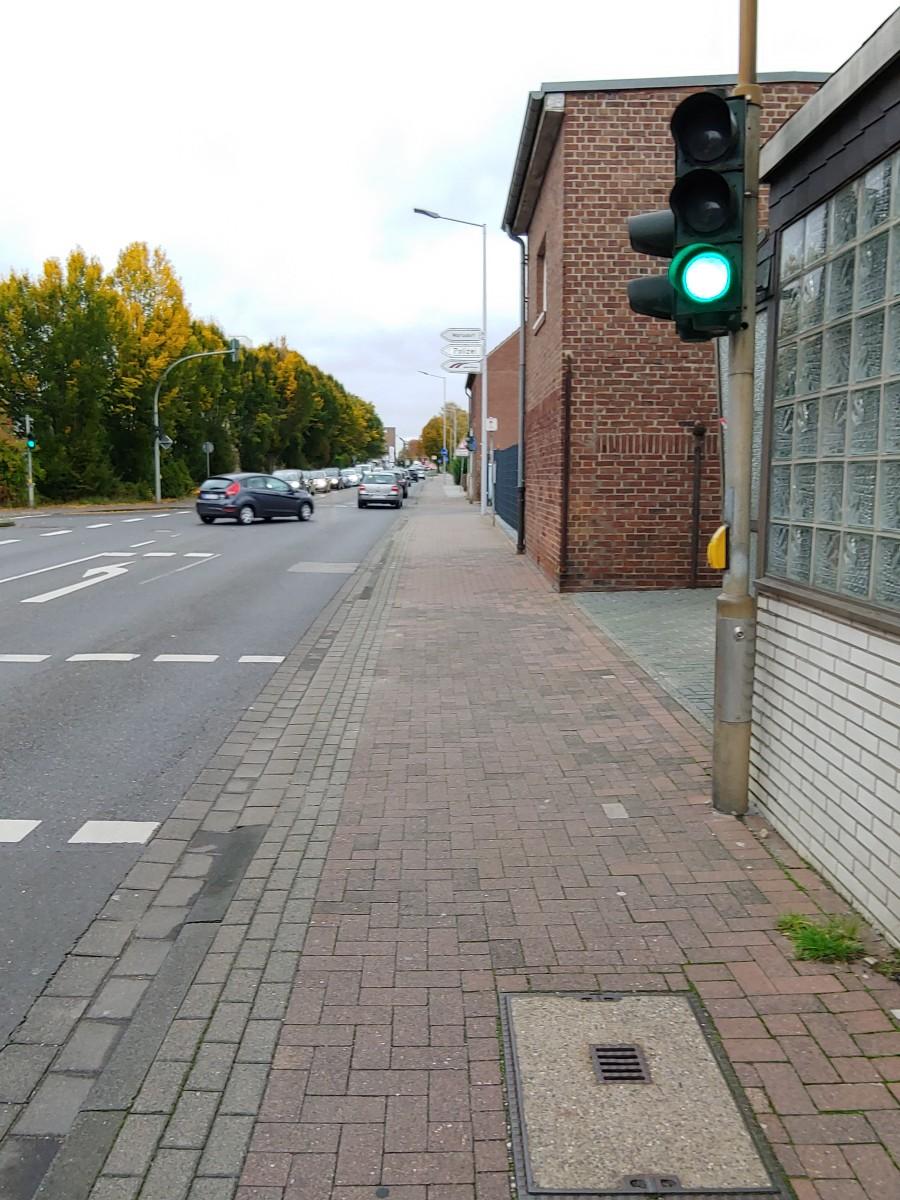 Bild: Ampel steht rechts vom Radweg