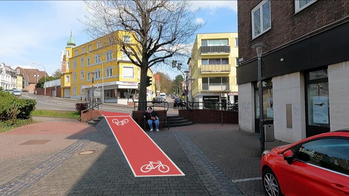 Bild: Am Ende der Kleikstraße geht es für den Radverkehr nicht mehr weiter. Hier schlagen wir eine Rampe vor